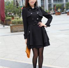 Graceful Simple elegance-Coat  Coat (Black,Khaki,Pink)