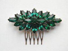 Rhinestone Hair Comb Bridal Hair Comb Emerald by DanaCastle, $45.50