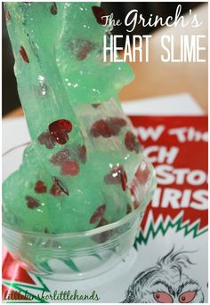 Grinch Slime Heart Slime Book and sensory play activity for kids