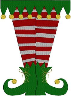 Instant Download Elf  Elf Legs Socks Christmas Holiday Machine Embroidery Design Pattern 3 hoop sizes