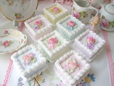 Sweet Faux Pink Roses Mini Square Tea Cake by sweetnshabbyroses