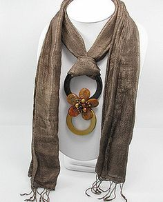 Silk scarf with bronze stone, pearl, wood & glass flower necklace - another view.