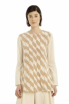 Prezzi e Sconti: #Blusa in crepe de chine di seta Bianco avorio  ad Euro 132.00 in #Fato #Abbigliamento camicie e bluse