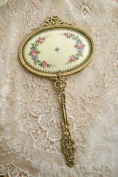 Stunning Antique Guilloche Ormolu Hand Mirror