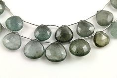 Natural moss aquamarine seafoam green faceted heart by Beadspoint, $49.99