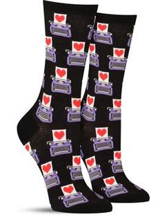 52ea768a82d These cute women s socks feature a pattern of typewriters with a love  letter inside