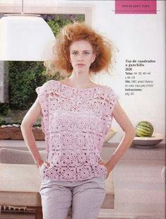 TEJER GANCHILLO CROCHET: Blusa a crochet ganchillo con motivos cuadrados