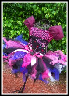 GIRLS ROCK Super Fluffy Rockin' Knotty Tutu with Reversible Corseted Top and Matching Hair Clippies. $95.00, via Etsy.