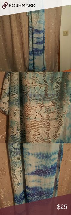 Looking pareo Lace and blue and white tye died pareo great cover up and very fashion forward curations Other