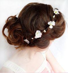 blush pink / white flower hair circlet - ARIELLE - dainty bridal circlet, flower girl via Etsy
