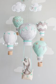 Elephant Mobile, Hot Air Balloons, Baby Mobile, Aqua and Gray, Nursery Decor… Elephant Mobile, Elephant Nursery Decor, Baby Elephant, Girl Nursery, Baby Boy Rooms, Baby Bedroom, Baby Room Decor, Decoration Creche, Travel Theme Nursery
