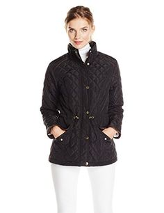 Jason Maxwell Women's Quilted Puffer Jacket with Faux-Leather Trim * Want to know more, click on the image.