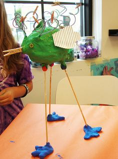 """Competency: 1 """"If you were a bird, what would you look like? Would you be able to fly? Would you swim? Would you live outdoors or be kept as a pet?"""" Sketch your ideas than using recycled & upcycled materials, assemble your birds."""
