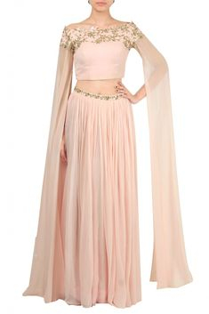 Georgette Lehenga Choli In Pastel Peach Colour Cape Lehenga, Lehnga Blouse, Lehenga Choli, Saree Blouse Neck Designs, Lehenga Designs, Blouse Designs, Designer Gowns, Indian Designer Wear, Party Wear Dresses