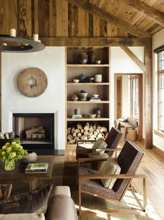 Love this mountain ranch living space with earthly tones. Diamond O Albers Ranch: design by Kylee Shintaffer