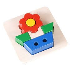 Children's puzzle and brain game to identify and fit shapes into their places, in a shape of a flower - more appropriate for a girl. (Ages 3-6)