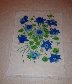 VTG Hand Towel Blue Green Floral Fringe Print Retro Bath Room Mid Century #Unknown