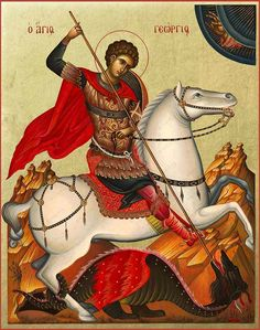 Saint Greatmartyr George Byzantine Christian Orthodox Icon on Natural Wood Byzantine Art, Byzantine Icons, Hl Georg, Dinosaurs Live, Christian Warrior, Christian Art, Image Categories, Leaf Background, Angels And Demons
