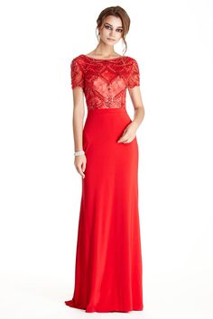 Floor Length Prom Dress APL1774.  Floor length and Sheath Shape Prom and Evening Dress has Lace Covered Bodice with Bateau Neckline, Short Sleeves and Gemstone Beading. Dress also has Scoop Open Back with Zipper Closure and Floor Length Solid Color Skirt with Slight Train.  https://www.dresstopic.com/prom-dresses/prom-dress-apl1774