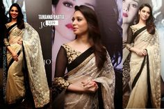 Tamanna Bhatia in glamorous cream color lace transparent net saree paired with black patch border with contrast transparent quarter sleeves blouse. Price : 3999 rs only SHIPPING EXTRA CALL/WHATSAPP : +91 9425052960 mail : stylemeindore@gmail.com https://www.facebook.com/StyleMee/photos/a.353815694702961.85020.352223348195529/674405225977338/?type=1&theater