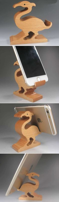 Wooden Ostrich Shaped Mobile Phone iPad Holder Stand
