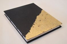 Gold Leaf Small Journal Notebook: Black and Gold Metallic Hardbound Coptic Handmade Book Leather Books, Leather Notebook, Leather Journal, Leaf Book, Small Journal, Yearbook Covers, Gold Book, Handmade Books, Handmade Notebook