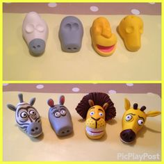 Making of the fondant chatacters for the Madagascar cake. We get such…