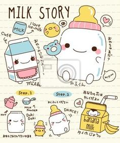 Wall Mural Cute Doodle Milk Story   *mos*