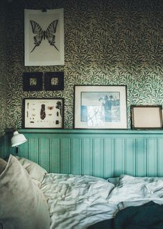 Your New Year cabin hide-away? (Morris wallpaper in the bedroom).
