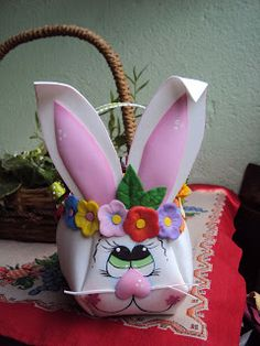 molde para hacer esta linda cesta con cara de conejo