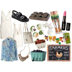Farmer's Market Frenzy by madeline20 on Polyvore featuring H&M, Chicwish, Forever 21, Kate Spade, NYX and Dot & Bo