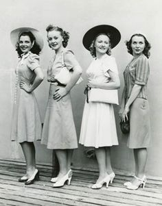 "Much of the ""vintage retro"" look has come from day dresses. The design is classic, knee length a-line skirt, button down blouse top with modest sleeves, and a figure flattering nipped in waist… Fashion 60s, Fashion Moda, Fashion History, Vintage Fashion, Fashion Hair, Womens Fashion, Dress Fashion, Street Fashion, Diy Fashion"