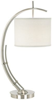 Brushed Steel Vertigo Arc Modern Table Lamp 31-inches high. 12-inches wide and 9-inches high shade.