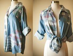 Vintage 80s Oversized Top / Denim Shirt by BlueHorizonVintage, $26.00 #bluehorizonvintage #boxy #oversized #top #bloue #shirt #denim #festival #grunge #goth #80s #90s #1980s #1990s #summer #etsyvintage #flannel #tunic