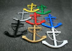"""36"""" Decorative Steel Navy Ship Anchor. Our most popular anchor. The Classic Navy Anchor is the perfect accessory for those who appreciate the durable construction of a steel anchor. It makes a wonderful unique gift and will be admired by all who love a nautical theme. Details:  36″ tall x 26″ x 4″ Welded tubular steel construction Plastic chain for lighter weight Black & White anchorsprofessional powdered coated (baked in 500 degree F…"""