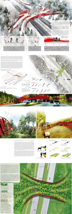 ARC International Wildlife Crossing Infrastructure Design Competition--all KINDS of bridges are beautiful! Landscape Architecture Drawing, Landscape And Urbanism, Architecture Panel, Urban Landscape, Landscape Design, Architecture Design, Infrastructure Architecture, Architecture Presentation Board, Presentation Layout