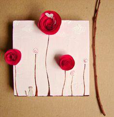 quadro com rosetas de papel Spring Flowers, Wall Art, Home Decor with Paper Rosettes, Siamese Cat-Fusia, Pink, White-Nursery Art, Birthday for Her, Made To Order