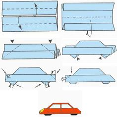 Print and fold origami bookmarks in five fun Christmas designs. Origami Car, Origami Paper Folding, Paper Crafts Origami, Oragami, Diy Paper, Origami Envelope, Origami Instructions, Origami Tutorial, Paper Pop