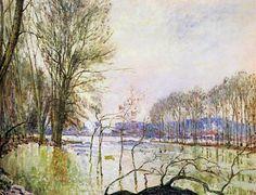Au bord de la Seine en automne, l'inondation Alfred Sisley