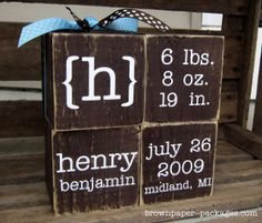CUTE idea....Make these Custom Baby Blocks as a  personalized DIY baby shower gift.