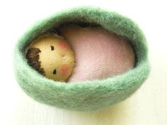 NEW Green Easter Egg, Waldorf style Pink Pocket Doll in felted Egg, Waldorf Easter treat