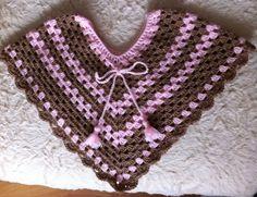 Poncho en crochet para nena de 1 año.