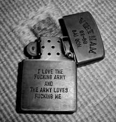 Zippo - Vietnam Army. Looks like something my grandfather would have proudly owned, except his was either WWII or Korea.