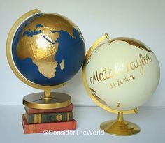 """Custom Wedding Globe – Hand Painted – 12"""" Diameter – Custom Colors and Quote or Names – Perfect for #Wedding Guestbook or Centerpiece www.etsy.com/shop/considertheworld"""