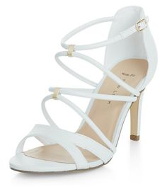 d00a90f7fb5e Wide Fit White Cross Strap Metal Trim Heels