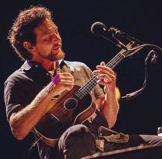 Eddie and his Uke. Pearl Jam Eddie Vedder, My Church, Rock Legends, Dream Guy, Ohana, Rock Style, Music Lovers, Sexy Men, Pearls