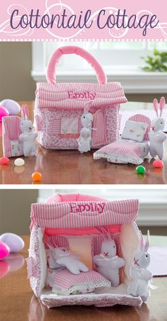 "OMG this is ADORABLE! It's ""Cottontail Cottage"" and you can have it embroidered with any name ... such a cute Easter gift idea for the little one! #Easter #EasterGift #bunny"