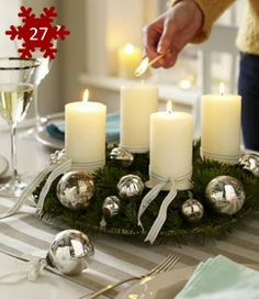 Decoração de mesa para o Natal - Centro de mesa simples