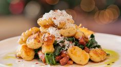 Potato Ricotta Gnocchi with Braised Winter Greens - Michael Bonacini Braised Greens, Potato Varieties, Ricotta Gnocchi, Sbs Food, Gnocchi Recipes, Pasta Recipes, Roasted Garlic, Pasta Dishes, Cooking Recipes