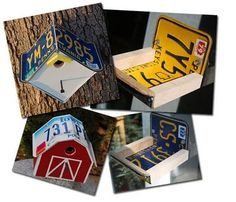 Old license plate birdhouses - Great fun for my dads old plates. @Melissa Pallo Peska